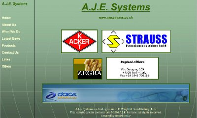 Logos of AJE Systems partners tile in the centre of the page over a green globe-like background with a menu on the left.