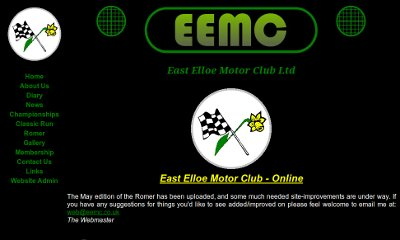 Black background site with white text and green links. The EEMC name is top centre contained within a car grill design.