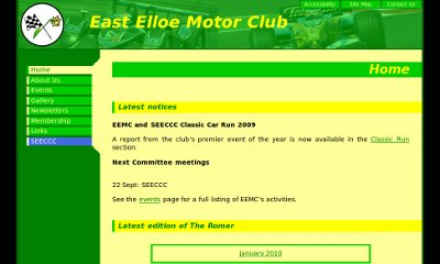 The club's name is imposed over a green-tinted picture of racing cars. The green menu bars extends from this down the side, and the content is over a soft yellow background.