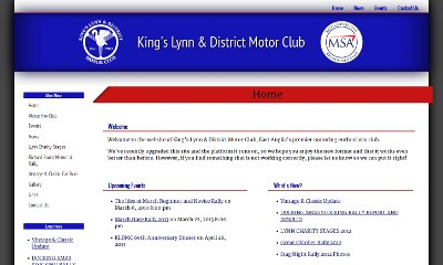 The club's title and logo span the top of the page in a bold blue bar. Underneath the menu links are placed vertically on the left side, and the content is broken into regions, each topped by a blue title with a red line underneath.