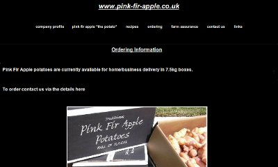 Website with a black background and white text. A horizontal menu under the page's title and a large picture of Pink Fir Apple potatoes in the centre.