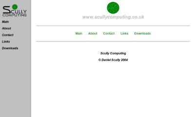 White website with grey navigation bar down the left-hand side. The green Scully COmputing disc logo in the centre accompanied by green links to the site's contents.