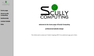 White website with a grey menu down the left-hand side with a large Scully COmputing logo in the centre of the home page.