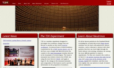 A slideshow of dramatic images hangs beneath a horizontal red header with the experiment's logo and menu. The content is broken into three boxes underneath, each with titles in a red bar.